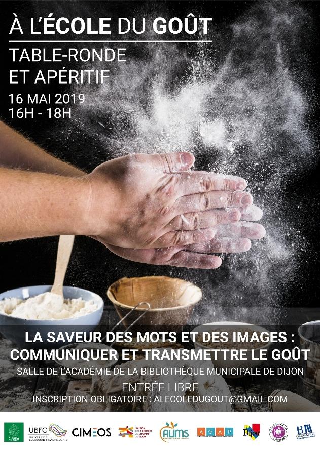 """Affiche de la deuxième table-ronde """"A l'école du goût"""" du laboratoire CIMEOS de Dijon"""